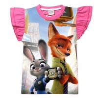 best graphic tees - Zootopia tee top Short ruffle Sleeve Cartoon summer o neck best cool pet graphic casual cotton print pink shirt for girl