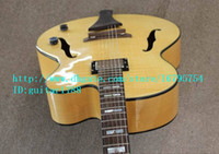Wholesale new strings hollow electric guitar in yellow with mahogany body for jazz music made in China LL17