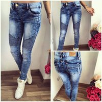 Wholesale hot sale women sexy skinny jeans full length pencil pants style low waist plaid high quality jeans