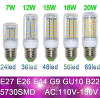 Wholesale Led Corn Globe - LED Light E27 LED Bulbs 7W 9W 12W 15W 18W 110V Lumen Cree SMD 5730 GU10 E14 B22 G9 Led lights Corn Lighting