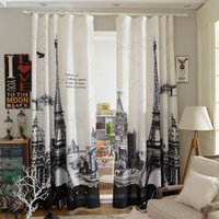Wholesale 3D Curtains Printed Modern Style Eiffel Tower Curtain Luxury Cortinas d Curtains for Living Room Bedroom Shading Effect PC