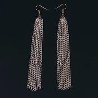 aluminum earrings - Silver bohemian earring Gold Aluminum Long Tassel Statement Dangle Earrings fashion jewelry for women boucle d oreille ethnique