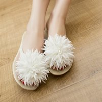 Wholesale Summer Women Flat shoes sweet Leisure sandals Large flowers Flat female sandals and Slippers Flip Flops