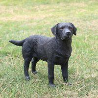 art bulls - Gift fan bull dog doggy puppy emulational Decorative Resin Art Labrador Retriever In Black For Collection