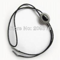Wholesale Bolo Tie Classic Silver Plating Small Size Vintage Black Agate Oval Bolo Tie BOLOTIE SL