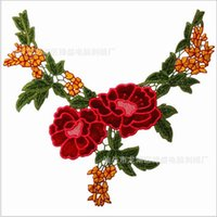 Wholesale Red Flower Lace Floral Collar Neckline Venise Applique Embroidery Sewing on Patches Scrapbooking Embossed