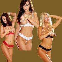 open bust lingerie - Sexy Womens Lingerie Babydoll Open Bust Cupless Exposed Breast Bikini Bra Suit SM Outfit Nightwear Underwear Dress G string Toy Handcuffs