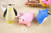 Wholesale MIX3PCS cute Cartoon penguin animal toy Erase Pencil sets Rubber school Supplies Students Stationery Promotional Eraser Creative