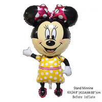 Wholesale 1pcs cm Standing Mickey Minnie mouse Cartoon Foil Balloon Kids Birthday Party Decoration foil ballon baloes party supplie