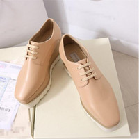 Wholesale Stella Elyse Shoes Platform Shoes Wedge Britt Lace up Slyse Star Faux Leather Wedge Heel Square Toe Derby Shoes