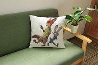 Wholesale 10 design cm Zootopia Nick Judy linen cushion pillow case cover Decorative Throw Pillow Case Cushion