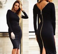 Wholesale Long Elegant Casual Maxi Dress - 2016 Women Summer zipper Style Long sleeve skirt Maxi Beach Dress Maxi Dresses Sexy Elegant bohemian dress Plus Size Vestidos NSQ92