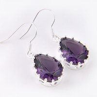 ancient gems - purple stone ancient silver hottest style amethyst gem earrings E0049