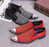 Wholesale New Men s Loafers Italy Luxury Style Male Pointed Toe Dress Leather Shoes Rhinestone Shoes Men Wedding Party Shoes