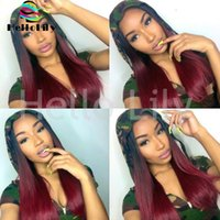 Cheap Rooted Human Hair Wig Red Color Virgin Brazilian 1b burg Full Lace Wigs Straight Lace Front Wigs Two Tone Ombre Hair Wig