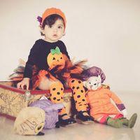 Wholesale 4pcs Baby Girls Halloween Rompers Set Toddler Girl Outfits Long Sleeve Jumpsuit Sets Kids Girl Pumpkin Yellow Tutu Skirt Clothing Set