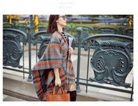 Wholesale Fashion autumn and winter fashion faux scarf cape plaid tassel female placketing air conditioning mantissas