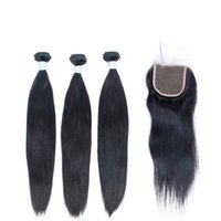 hair weave and wigs - Brazilian Unprocessed Straight Hair Weave Bundles with Lace Top Closure Human Hair Natural Color B Hair Weft and Closure