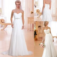 Wholesale In Stock Colmn Beach Chiffon Wedding Dress Sleeveless Sweetheart Pleated Elegant Sweep Train Vintage Bridal Dresses Fast Delivery Best Price