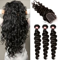 Wholesale Brazilian Hair Bundles with Lace Closure Loose Wave Natural Black Color Malaysian Mongolian Peruvian Human Hair Weaves