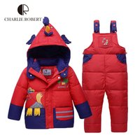 Wholesale Children Winter Jacket For Girls Boys Children Clothing Sets Parkas Down Coat Overalls Pants Hooded Baby Clothes Warm Outerwear