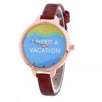 beach tags - I need a vacation fashion women leather watch beach sea eiffel tower printing casual ladies dress thin bands quartz watches