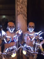 ballroom masks - Newest Led Luminous Ballroom Costume With Mask With Motohead Light LED DJ Nightclub Event Party Dance Wear Clothes