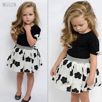 bebe shirt dress - 2016 ins summer baby girls clothing set bow short T shirt flower skirt kids children bebe baby girl clothes set suit girls dresses