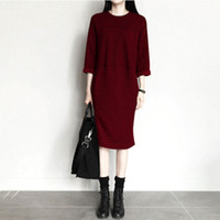 beautiful sweater dresses - South Korea Autumn Winter Dresses Pure Cotton Beautiful Fat Woman Leisure Time Sweater Package Hip Skirt Plus Size Dresses