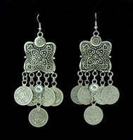 african stone carving - Bohemian style carving flower Coin Statement Earring Ethnic Turkish Gypsy Beach India African Stone Jewelry