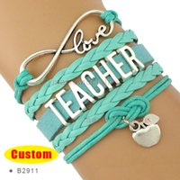 apple suede - Infinity Love to Teacher Charm Bracelets Apple Suede turquoise Pink Wax Cords Silver Women Men Lady Girl Jewelry Gift Custom Drop Shipping