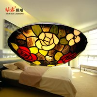 artistic ceiling - Modern Tiffany ceiling light artistic multicoloured glass Creative flush mount ceiling lamp indoor bedroom surface living room light fixture