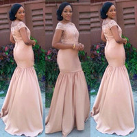 african peach - 2016 Peach Lace Bridesmaid Dresses Short Sleeves Vestido De Fiesta African Mermaid Maid Of Honor Gowns Long Formal Wedding Event Dresses