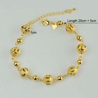 africa food - 20cm Round beads bracelet k gold plated new trendy fashion ball bracelet beaded for women Arab Africa Ethiopian Bangle NEW
