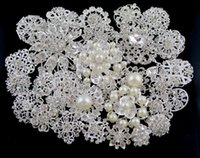 asian style decor - Mix styles Wedding Party Brooches Plated crystal Pearl Crystal Rhinestone Bouquet Faux Brooch Pins bridal decor Supply