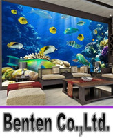 Wholesale Cute Marine Fish Photo Wallpaper D Custom Size Underwater World Children s room Bedroom TV background D Mural wallpaper LLFA88