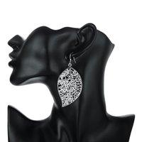 big heart earings - Hollow Leaf Silver Plated Female Fashion Big Earings Jewelry Crystal Drop Earrings Trendy Women Earrings