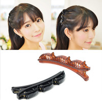 asia gifts - New Model Plastic Clip Hairpin Hair Ornaments Headdress Double Bang Clip Black Coffee Color Asia Series Girl Hair clip Style