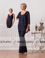 ladies pant suits - 2016 New Fashion Three Pieces Formal Chiffon Mother s Pants Suits Custom Plus Size Lace Women Navy Blue Evening Wedding Gowns for Ladies