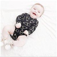 baby milk bottles - 2016 pieces Cute Milk Bottle Print Baby Infant Bodysuit Long sleeve Romper One pieces M