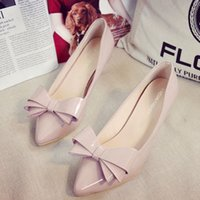 Wholesale women high heels shoes Korean shallow mouth thin shoes female nude pink high heeled shoes cm big bow with the tip in fine with the bridesma