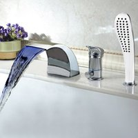 Wholesale Modern Bathroom Accessories Bathroom Faucet Spout Valve Hand Shower Set Bath Taps Roman Chromed Tub Waterfall Bathtub Faucets