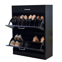 shoe cabinet - From USA Stock Black Wood Shoe Cabinet Rotary Doors Shoe Cabinet Rack Organizer with Storage drawers