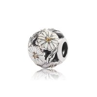 Wholesale Daisy Charm with White Enamel S925 sterling silver fits European pandora jewelry bracelet beads OMB004