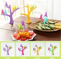 Wholesale Forks Online Creative trees birds plastic fruit fork Set One Stand Birds Cutlery Set Candy Colorful