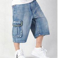 baggy style jeans - Moletom Skinny Masculina Hilip Hip Hop summer style baggy shorts Loose big Skateboard printed bermuda jeans masculina