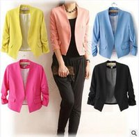Wholesale 50pcs CCA4068 High Quality Hot Sale Women s Blazer Jackets Spring New Solid Color Suit Ruched Sleeve Slim Fit Thin Coat Cardigan Blazer Tops