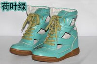 Wholesale Fashion Brand Women s Top Quality MJ Cutout Sneakers Genuine Leather High Top Wedge MJ Trainers Shoes Lace Up MJ Casual Shoes Colors