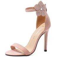 Wholesale Shoes Zipper Flower - Size 35~40 Flower High Heels Sandals Women Pumps Zipper Pink Elegant Summer Lady 2016 Women Shoes