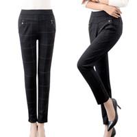 Wholesale 2016 Fashion Women Pencil Pants Office Work Wear Lady Plaid Leisure Trousers Female Comfy High Waist Pants Pantalones Mujer XK0290